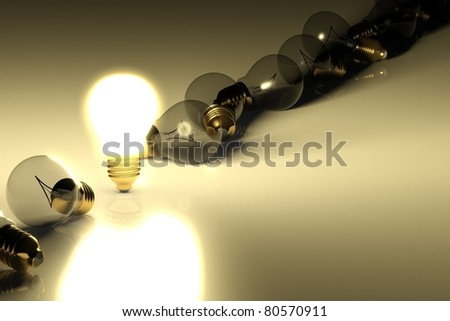 One glowing light bulb amongst other light bulbs, concept of idea - stock photo