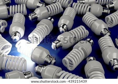 One glowing light bulb, different from the others, 3D illustration - stock photo
