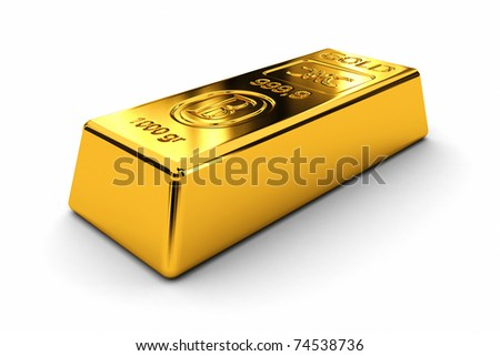 One gold bar laying on white background - stock photo