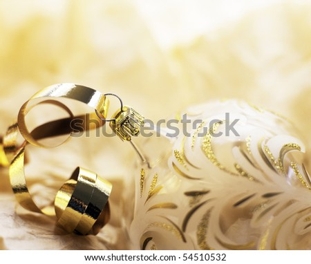 One Gold Christmas tree ornament - stock photo