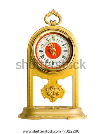 one gold old style clock isolated on white