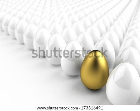 One golden egg among white ones, easter concept - stock photo