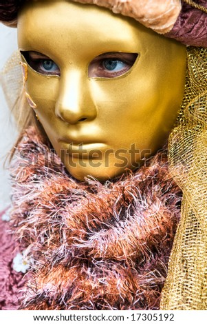 One golden mask in Venice, Italy. - stock photo
