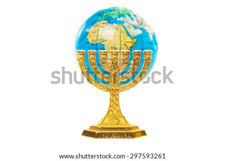 One Golden Menorah and small globe in shallow DOF isolated on white background - stock photo