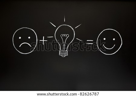 One good idea can change everything! Creativity concept, illustrated with chalk on a blackboard. - stock photo