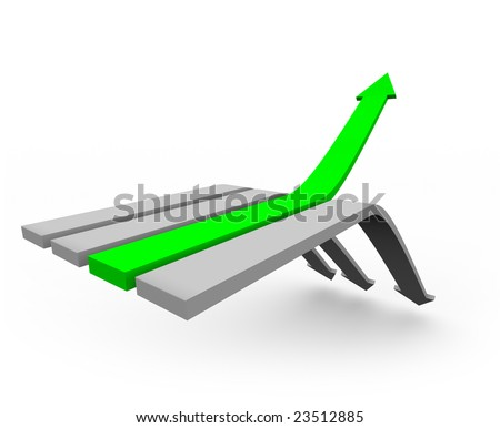 One green arrow rises up from a series of arrows heading downward. - stock photo