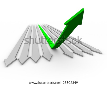 One green arrow rises up from a series of flat arrows. - stock photo