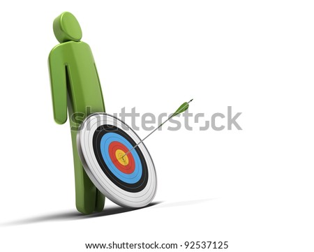 one green character in front of a target with an arrow hitting the bull's eye, white background