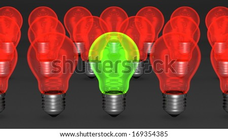 One green light bulb among many red ones. The only good idea concept, uniqueness concept