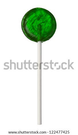 One green lollipop isolated on white background, close-up. This image is isolated with light during the photo shoot process. - stock photo