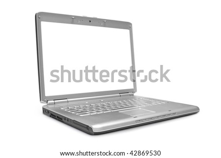 One grey laptop with the white screen on white background - stock photo