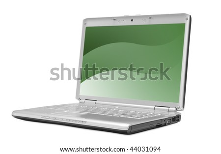 One grey laptop with the white screen on white background
