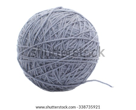 One grey spool of threads  isolated on white background - stock photo