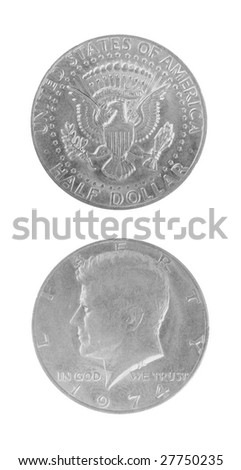 one half dollar coin over white background - stock photo