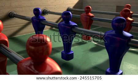 One half of a foosball table at ground level with a soccer ball in front of the red team ready to kick off a soccer match