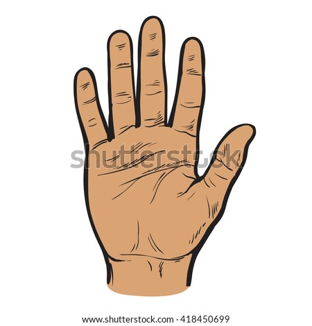 One hand. Hand showing five fingers. A welcome gesture. Stopping gesture. stop character. Opened palm of the hand. Painted hand. Contour arm. Illustration of five fingers. - stock photo