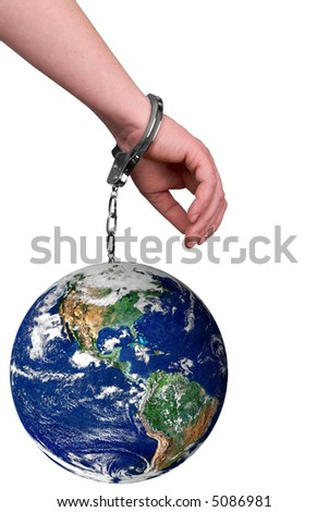 One hand handcuffed to the earth isolated over white - stock photo