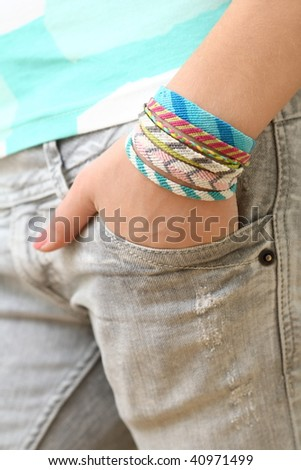One Hand In My Pocket - stock photo