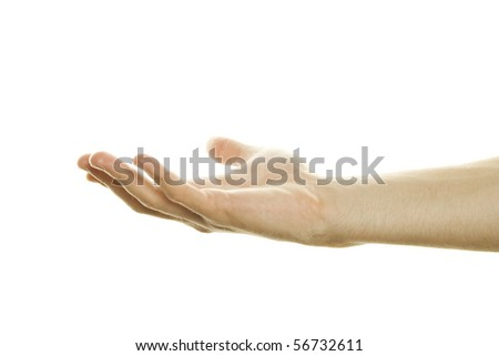 One Hand Open. Isolated on white background - stock photo