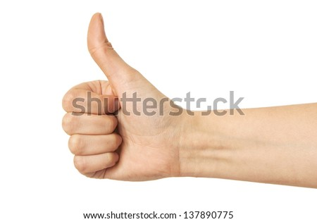 One hand thumbs up on white background