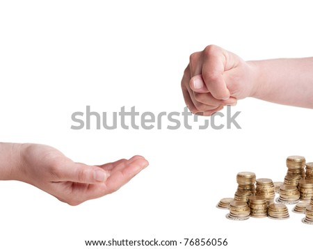 one hand with fico gesture and other one asking for money, isolated on white background
