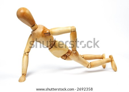One handed pushups, on white with shadow detail - stock photo