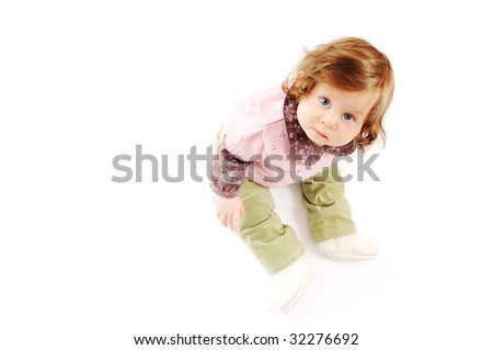 one happy  baby child isolated on white background - stock photo