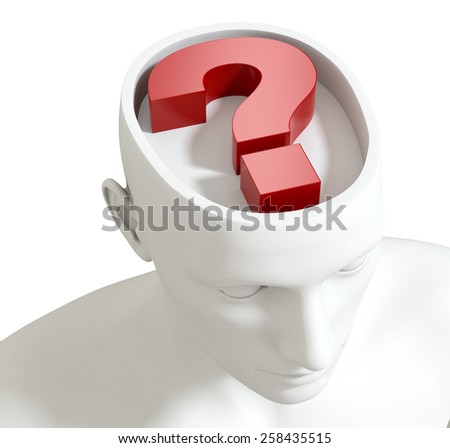 one head of a manikin with a question mark inside it, concept of questions and doubts (3d render) - stock photo