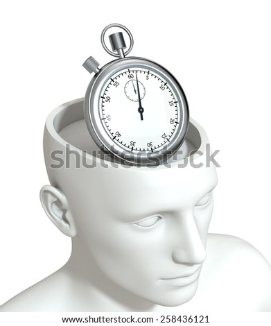 one head of a manikin with a stopwatch inside it, concept of time (3d render) - stock photo