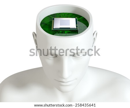 one head of a manikin with an electronic circuit board and a cpu inside it (3d render) - stock photo