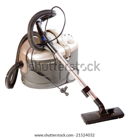 One heavy vacuum cleaner isolated on white - stock photo