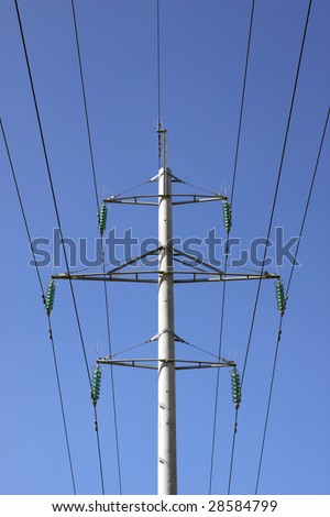 One high voltage pylon and electricity lines - stock photo