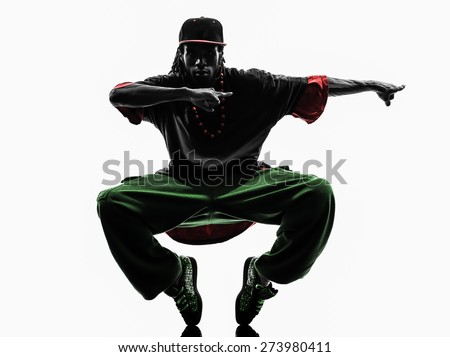one hip hop acrobatic break dancer breakdancing young man silhouette white background - stock photo