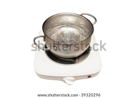 one-hotplate electric stove and pan with boiled water - stock photo