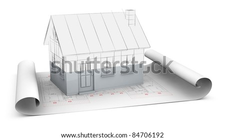 one house plan with a house model over it. The house render fades from sketch to solid to show the concept of under construction (3d render) - stock photo