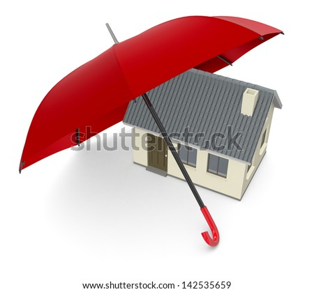 one house under an umbrella, concept of security and protection (3d render)
