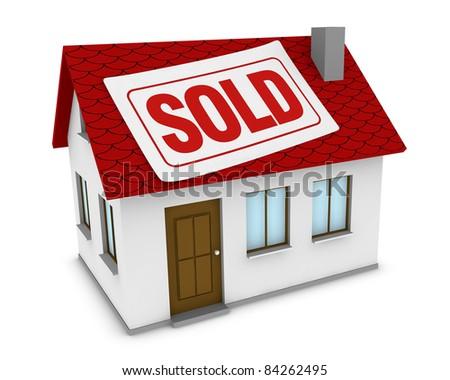 one house with a label with the word sold on the roof (3d render) - stock photo