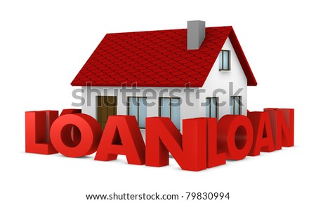 one house with a wall around it made with the word loan (3d render) - stock photo