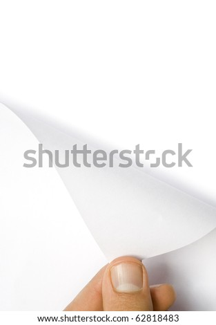 One human hand open white page of paper - stock photo