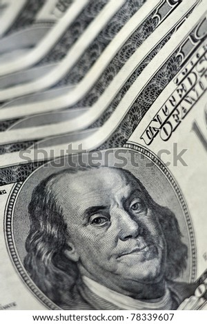 One Hundred American Dollar bank notes  isolated on white.  Concept photo of money, banking ,currency and foreign exchange rates.   - stock photo