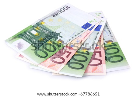 One Hundred and Fifty Euro Banknotes Isolated with Clipping Path - stock photo