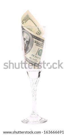 One hundred dollar banknote in glass. Isolated on a white background. - stock photo