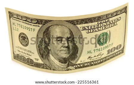 One hundred dollar banknote isolated on white background