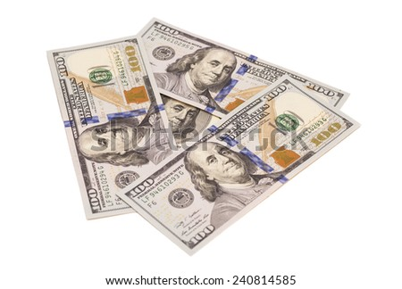 One hundred dollar banknotes
