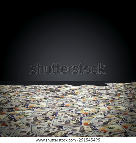 One hundred dollar banknotes against black wall. Money, finance concept - stock photo