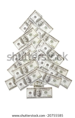 One hundred dollar banknotes arranged in form of christmas tree over white background