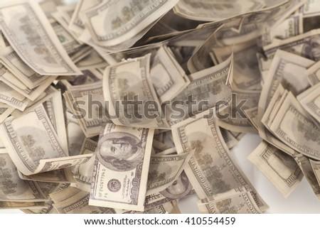One hundred dollar banknotes background - stock photo