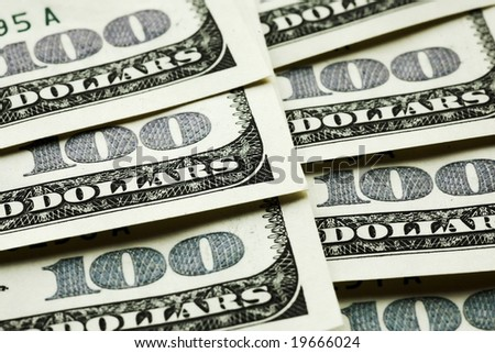 One hundred dollar banknotes crop