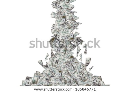 One hundred dollar banknotes flying and falling down, isolated on white background. - stock photo