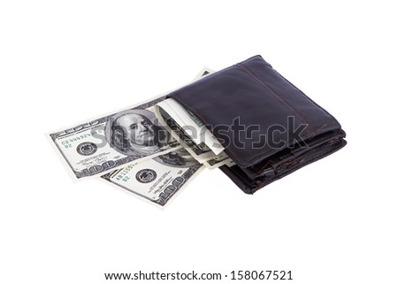 One hundred dollar banknotes in wallet, isolated on white background.